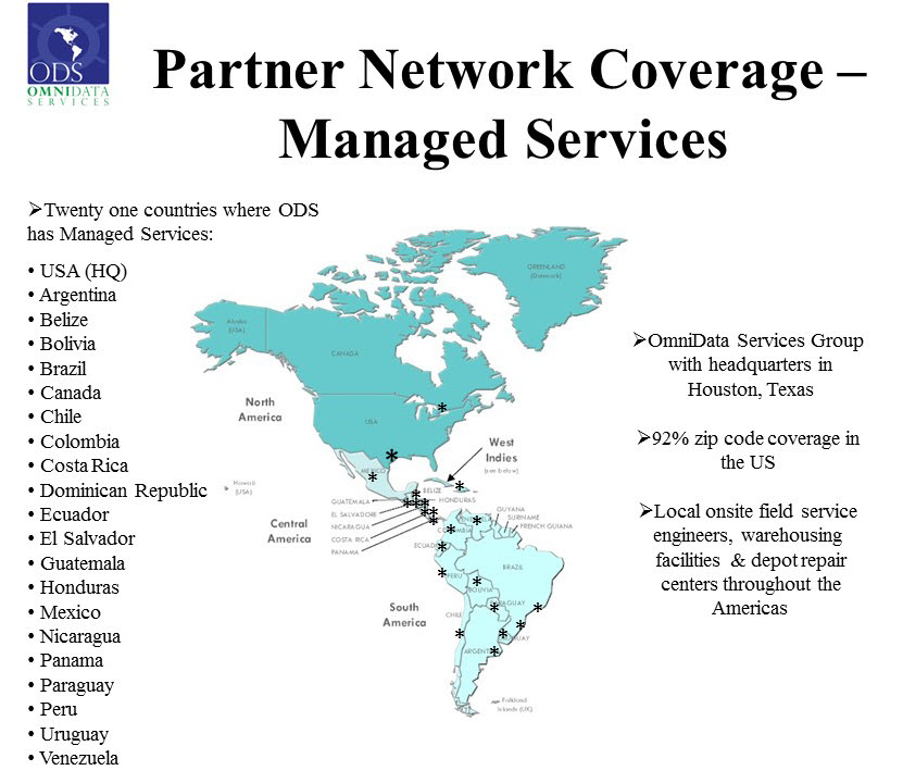 Map of managed services Omnidata covers