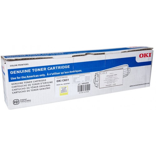 Okidata C831 Yellow Toner Cartridge (10,000 pg) - OEM NEW - PN: 44844509